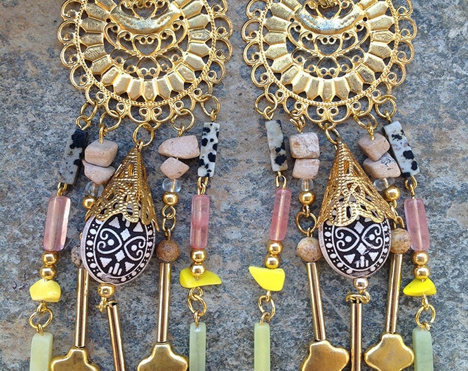 Handmade Tribal Earrings, Boho, Long Dangle Earrings, Vintage Brass, Festival, Native, Unique, Safari (Jungle Riches Earrings (set one)