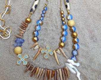 Handmade Tribal Necklace, Boho, Cross, Shell, Spike, Festival, Bone, Statement, Sexy, Unique, Native (Wild Clan Princess Necklace)