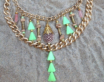 NEW Handmade Tribal Necklace, Boho, Festival, Safari, Statement, Sexy, Celebrity, Unique, Ethnic, Native (Jungle Riches Necklace)