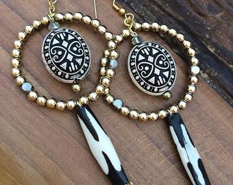 Handmade Tribal Earrings, Boho, Bone, Hoop, Beaded, Aztec, Sexy, Festival, Celebrity, ONE OF A KIND (Jungle Riches Earrings (set two))