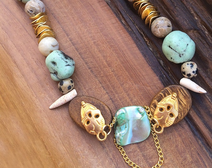 UNIQUE Handmade Tribal Necklace, Boho, Skull, Festival, Bone, Spike, Statement, Sexy, Celebrity, Ethnic, Native(The Crystal Skull Necklace)