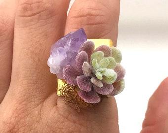 Succulent Ring, Handmade Amethyst ring, Crystal ring, Quartz Healing ring, Chakra Yoga Jewelry, Boho Beach Ring, Succulent Decor Art Gift