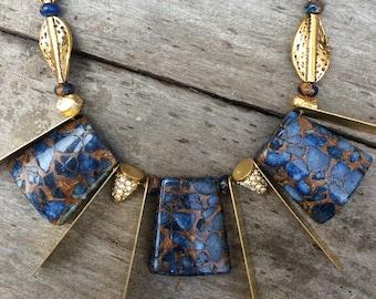 Handmade Boho Necklace, Tribal, Brass, Blue, Leaf, Beaded, Sexy, Celebrity, Pretty, Unique, Warrior, Jasper (Dripping Sexy Necklace)