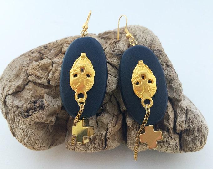 Handmade Skull Earrings, Cross, Wood, Tribal, Boho, Celebrity, Rocker, Dangle, Sexy, Unique  (Simple Love Earrings)