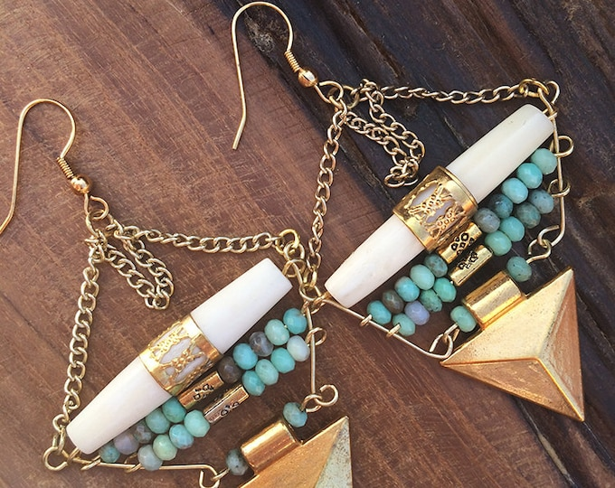 Handmade Tribal Earrings, Boho earrings, Triangle earrings, Jasper Beaded, Bone beads, Arrow earrings, Sexy (Pointing the Way Earrings)