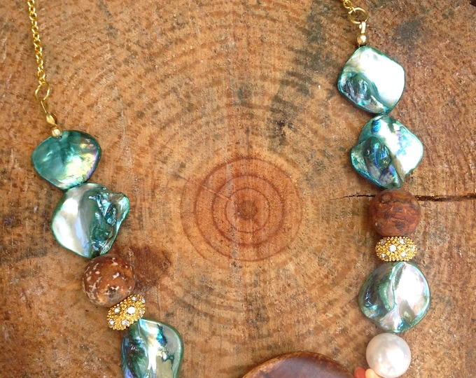 Handmade Boho Necklace, Tribal, Goddess, Gypsy, Healing, Wood, Agate, Shell, Coral, Sexy, Summer, Statement, Festival (Beach Ready Necklace)
