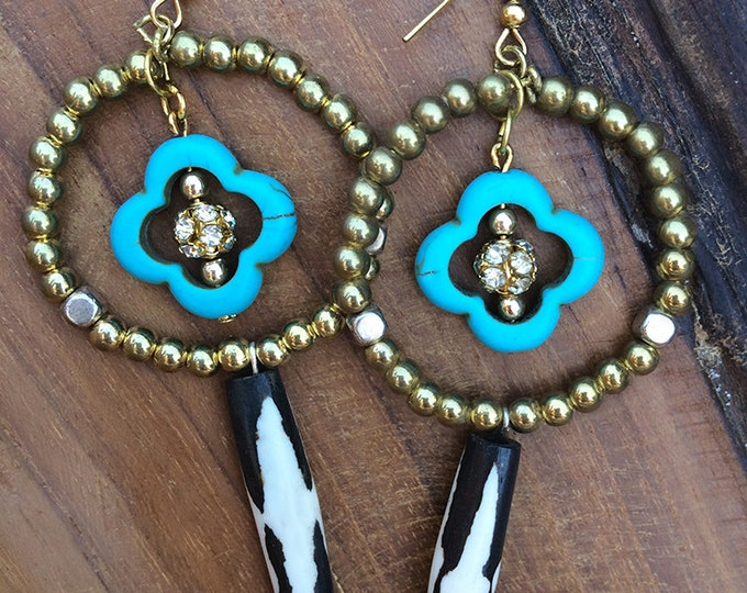 Handmade Tribal Earrings, Bone, Boho, Dangle, Turquoise, Beaded, Rhinestone, Sexy, Festival  (Turkish Delight Earrings)