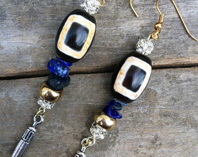 NEW Handmade Tribal Earrings, Boho earrings, Medieval, Dangle, Horn, Festival, Sexy, Celebrity, Native, Unique, (Tribal Magic Earrings 2)