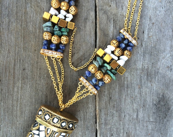 Handmade Tibetan Necklace, Boho, Horn, Tusk, Tribal, Festival, Sexy, Beaded, Chain, Unique (Tibetan Tribe Necklace)