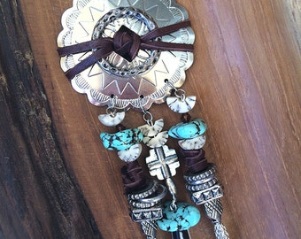 Handmade Western Necklace, Boho, Tribal, Beaded, Bone, Turquoise, Leather, Cowboy, Native, Sexy, Unique (Ready to Ride Necklace)