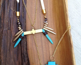 Handmade Tribal Necklace, Bohol, Porcupine Quill, Festival, Statement, Sexy, Spike, Cross, Unique, Ethnic (My Own Thoughts Necklace)