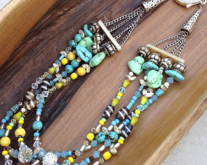 Handmade Tribal Necklace, Boho, Turquoise, Swarovski, Festival, Bone, Statement, Sexy, Celebrity, Unique, Native (Smoke & Mirrors Necklace)