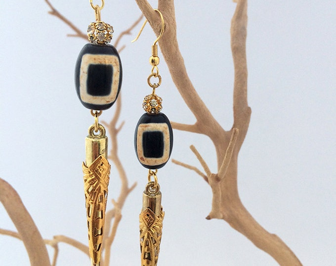 Handmade Tribal Earrings, Boho, Medieval, Dangle, Spike, Festival, Sexy, Celebrity, Native, Unique, ONE OF A KIND (Tribal Magic Earrings)