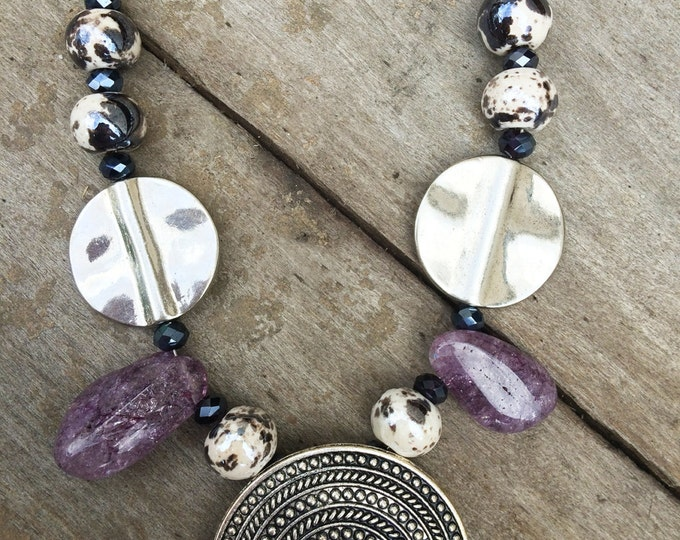 Handmade Boho Necklace, Beaded, Glass, Crystal, Purple, Sexy, Celebrity, Tribal, Pretty, Unique, Warrior, Amethyst (Inner Soul Necklace 1)