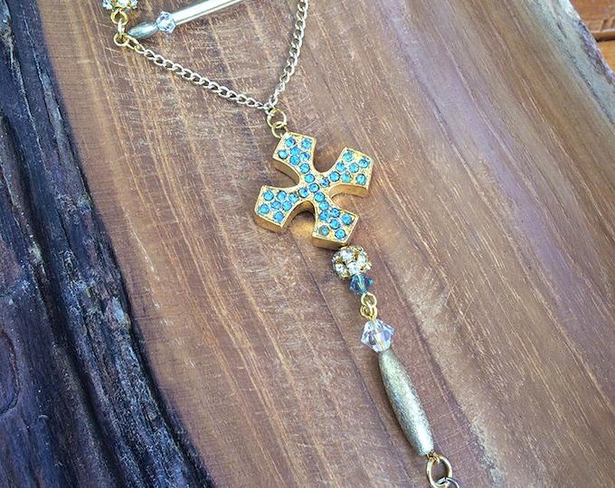 Handmade Boho Necklace, Tribal, Swarovski, Festival, Rhinestone Cross, Statement, Sexy, Celebrity, Unique, Native (In my Chamber Necklace)