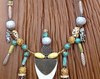 VERY UNIQUE Handmade Tribal Necklace, Boho, Safari, Turquoise, Festival, Bone, Statement, Sexy, Ethnic, Native,(High Priestess Necklace)