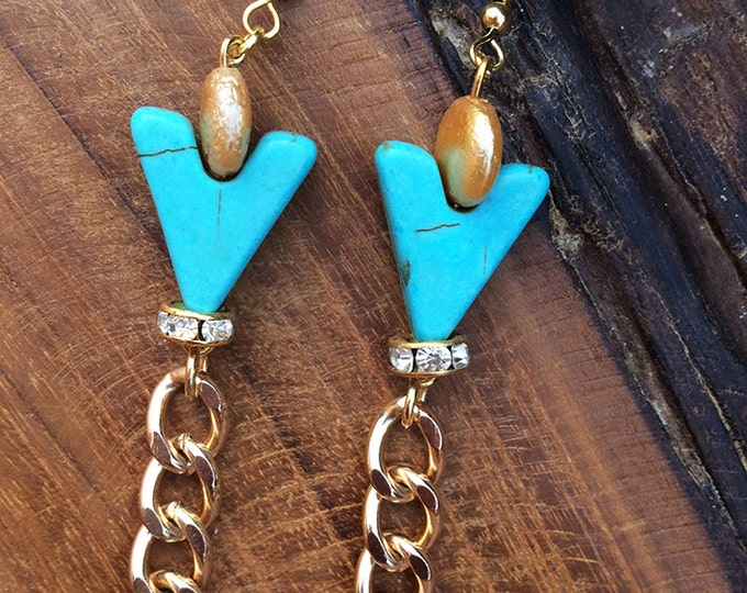 Handmade Southwestern Turquoise Earrings, Dangle, Tribal, Boho, Chain, Rhinestone, Sexy, Festival, Arrow, Beaded (Christian Jingle Earrings)