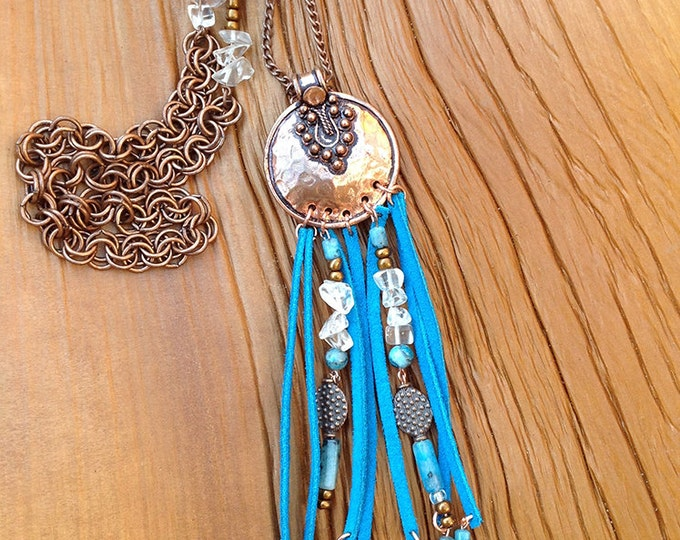 Handmade Boho Necklace, Tribal, Brass Pendant, Festival, Leather, Sexy, Celebrity, Unique, Native, Dream Catcher (Bronze Beauty Necklace)