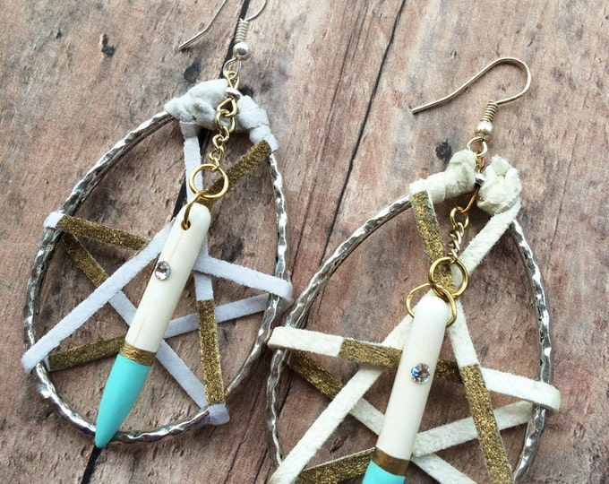 Handmade Tribal Earrings, Leather Wrapped, Hand-painted, Bone Spike, Swarovski, Dream Catcher, Celebrity, Boho, Unique (Dream Web Earrings)