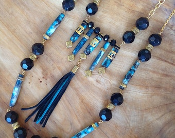STUNNING Handmade Boho Necklace, Tribal, Festival, Dyed Bone, Statement, Sexy, Unique, Ethnic, Native, ONYX (The Beautiful Samurai Necklace)