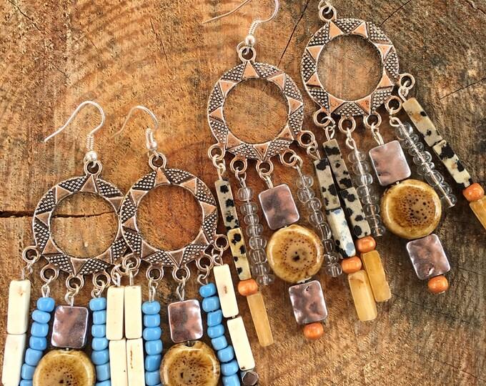 BEAUTIFUL Handmade Festival Earrings, Boho Gypsy, Long, Dangle, Goddess, Tribal, Western, Native, Beaded, Beach, Sexy (Summer Fun Earrings)