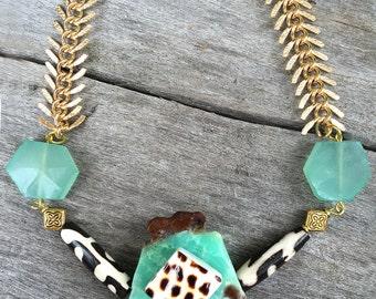 Handmade Tribal Necklace, Boho, Warrior, Gypsy, Arrow, Bone, Wood, Goddess, Summer, Sexy, Unique, Statement, Amazonite  (Azrael Necklace)
