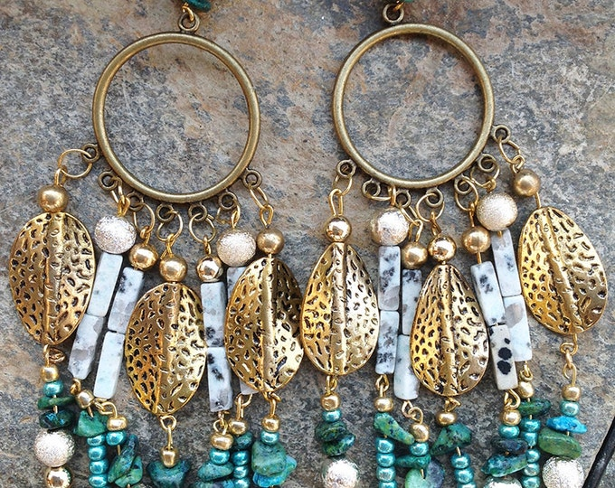 TRIBAL Handmade Earrings, Boho, Dangle, Festival, Turquoise, Western, Native, Celebrity, Runway, Unique (Goddess of the Jungle Earrings)