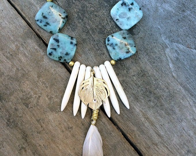 Handmade Tribal Necklace, Boho, Festival, Feather, Spike, Statement, Sexy, Celebrity, Unique, Leaf, Native (Moonlight EOS)