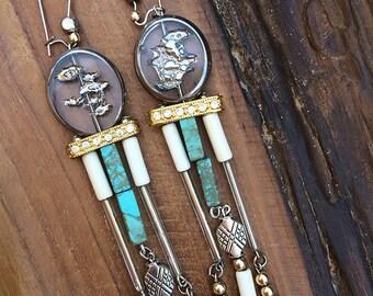Handmade Boho Earrings, Tribal, Crystal, Dangle, Beaded, Turquoise, Rhinestone, Festival, Gemstone, Healing, (Made from a Song Earrings)