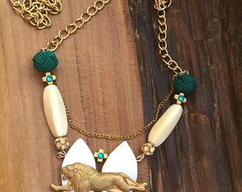 UNIQUE Handmade Lion Necklace, Boho, Tribal, Brass, Festival, Shell, Bone, Statement, Sexy, Celebrity, Ethnic, Native, (Felis Leo Necklace)