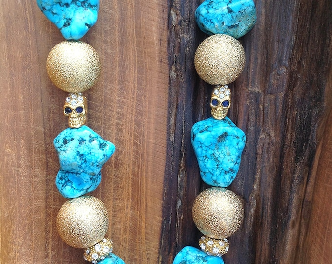 Handmade Turquoise Necklace, Tribal, Skull, Boho, Festival, Statement, Sexy, Rhinestone, Unique, Ethnic, Native (Sweet Sorrow Necklace)