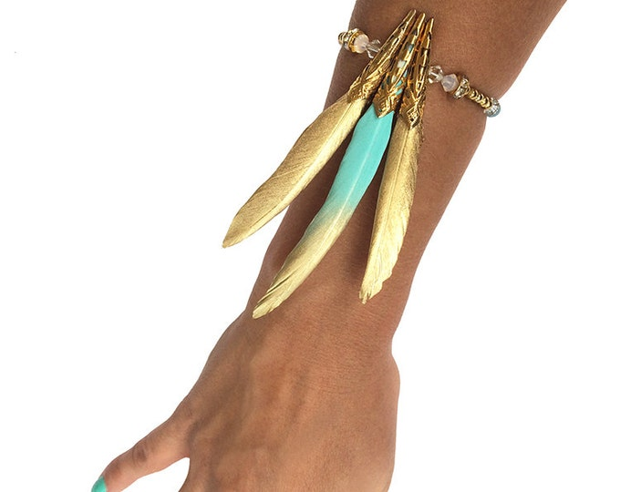 Handmade Feather Bracelet, Tribal Bracelet, Native, Boho, Painted, Swarovski, Celebrity, ONE OF A KIND, Sexy (Beneath My Wings Bracelet)