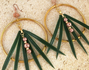 Handmade Tropical LEAF Hoop Earrings, Palm, Boho, Tribal, Festival, Goddess, Quartz, Flower, Unique Coachella, SEXY (Palm Princess Earrings)