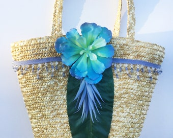 Handmade Unique Straw succulent Palm Leaf Bag, Boho, Summer, Beach, Festival, Sexy, Nature, Bling, New, ONE OF A KIND (Sweet Succulent Tote)