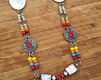 Handmade Ethnic Necklace, Boho, Mexican, Festival, Cross, Coachella, beaded, Gypsy, Fiesta, Sexy, Colorful, Beach (The Yolanda Necklace)