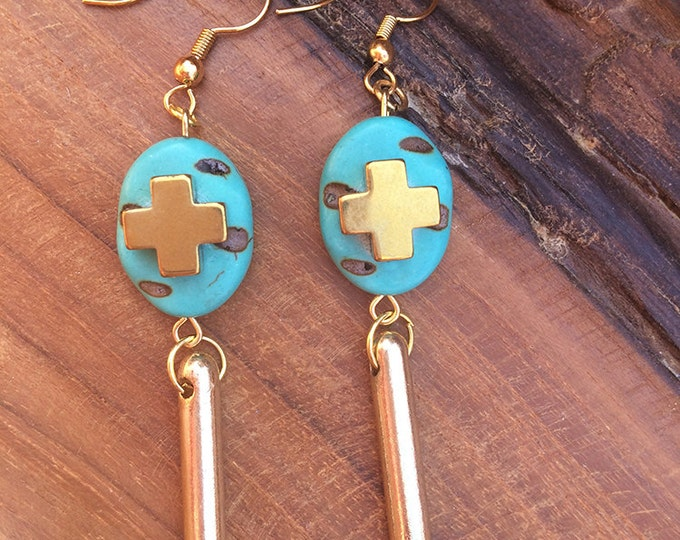 Handmade Boho Earrings, Cross, Spike, Turquoise, Tribal, Dangle, Festival, Western, Native, Celebrity, Unique (My Own Thoughts Earrings)