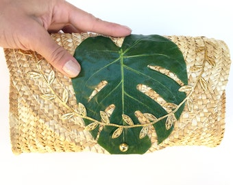 Handmade Palm Leaf Clutch, Beach Bag, Summer Tote, Boho Bag, Tropical Wedding, Exotic, Sexy Purse, Woven Straw Tote, Nature Decor, Plants
