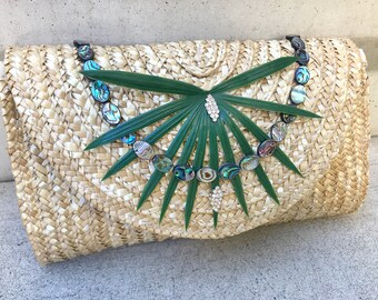Handmade Palm Abalone Shell Clutch, Beach Bag, Palm Leaf Bag, Boho Bag, Festival Tote, Shell Trim, Tropical Bag, Bridal, Tropical Wedding