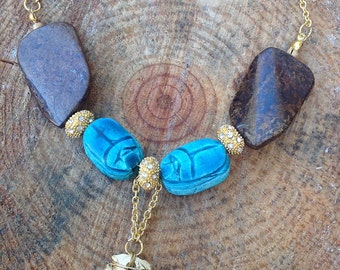 Handmade Festival Necklace, Boho, Tribal, Statement, Scarab, Beetle, Egyptian, Sexy, Celebrity, Native,ONE OF A KIND (Blended Eras Necklace)