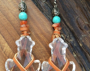 Handmade Boho Earrings, Crystal, Dangle, Festival, Western, Native, Healing, Energy, Unique, Leather Wrapped (Twisted Fate Earrings)