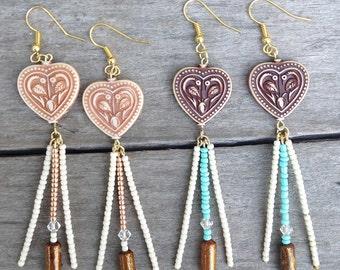 HEART HIPPIE Handmade Boho Earrings, Festival, Gypsy, Goddess, Beaded, Swarovski, Dangle, Sexy, Unique, Celebrity  (Peace & Love Earrings)