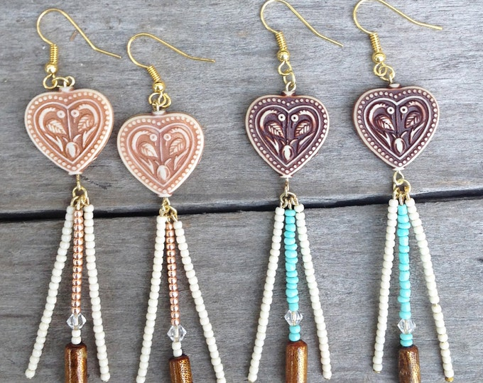 HEART HIPPIE Handmade Boho Earrings, Festival, Gypsy, Goddess, Beaded, Swarovski, Dangle, Sexy, Unique, Celebrity  (Peace & Love Earrings)