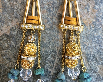 Handmade Boho Earrings, Tribal, Swarovski, Dangle, Festival, Western, Native, Celebrity, Runway, Unique, Leather (Helios Earrings)
