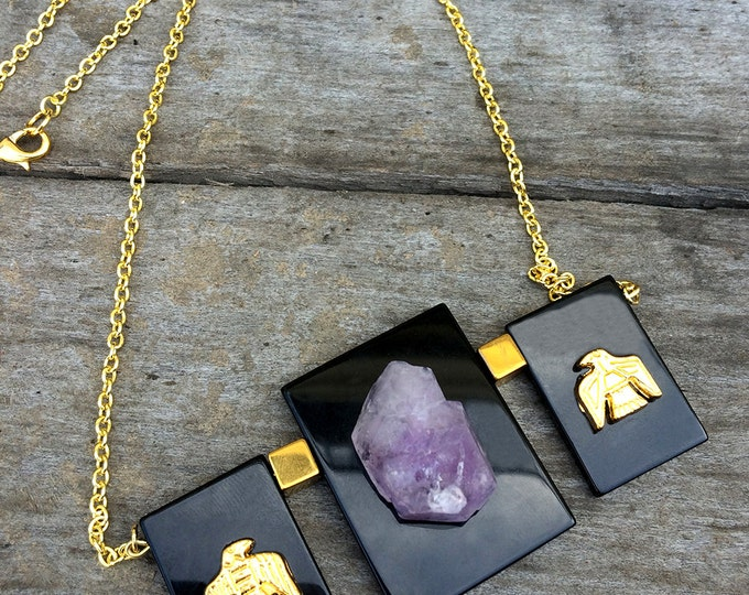 SO UNIQUE Handmade Crystal Necklace, Amethyst, Celebrity, ONYX, Choker, Boho, Festiva, Statement, Sexy, Egyptian, Gold, Hot (Tales are Told)