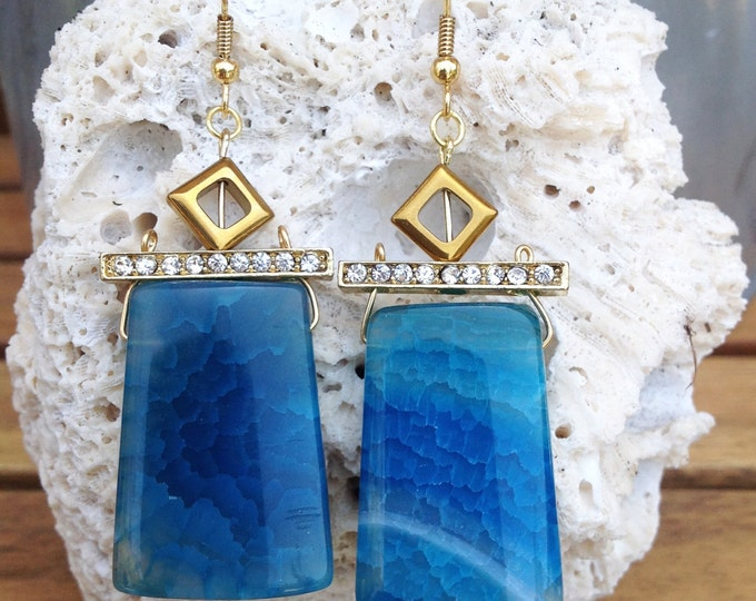 Handmade Agate Earrings, Boho, Tribal, Gypsy, Festival, Healing, Sexy, Blue, Goddess, Unique, Celebrity, Warrior  (Lost Underwater Earrings)