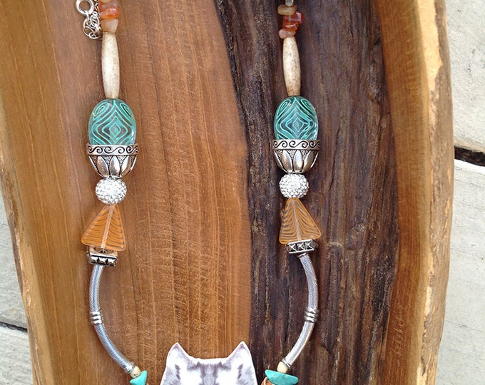 Handmade Wolf Necklace, Boho, Turquoise, Western, Cowboy, Tribal, Festival, Bone, Sexy, Unique, Leather, Native (Twisted Fate Necklace)