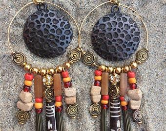 NATIVE Handmade Tribal Earrings, Boho Earrings, Dangle, Festival, Western, Native, Celebrity, Unique, Hoop, Sexy (Indian Giver  Earrings)