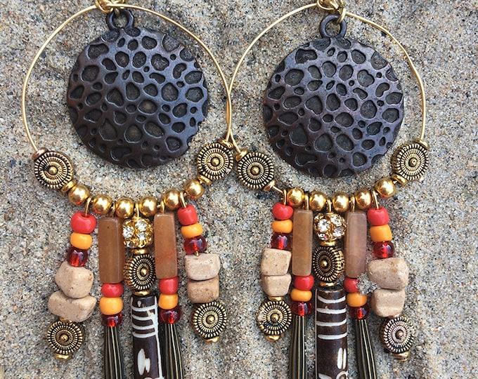 NATIVE Handmade Tribal Earrings, Boho Earrings, Dangle, Festival, Western, Native, Celebrity, Unique, Hoop, Sexy (Indian Giver  Earrings)