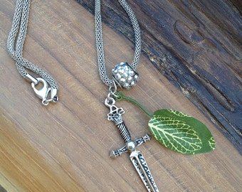 1 OF A KIND Handmade Sword Necklace, Boho, Tribal, Leaf, Festival, Sexy, Healing, Blade, Warrior, Native, Viking (Garden of Eve Necklace 1)
