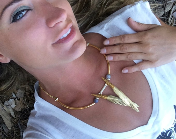 Handmade Feather Necklace, Boho, Tribal, Festival, Bone, Statement, Sexy, Celebrity, Native, ONE OF A KIND (Beneath My Wings Necklace)